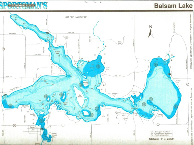 Map of balsam lake pictures to pin on pinterest pinsdaddy for Fish trap lake mn